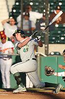 J.J. Altobelli #49 of the Oregon Ducks bats against the USC Trojans at Dedeaux Field in Los Angeles,California on April 15, 2011. Photo by Larry Goren/Four Seam Images