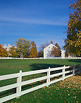 Pleasant Hill, KY: Fence and field near the Meeting House in this Shaker Village