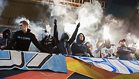 Malmo FF ultras supporters during the UEFA Europa League match between Chelsea and Malmo at Stamford Bridge, London, England on 21 February 2019. Photo by Andrew Aleksiejczuk / PRiME Media Images.