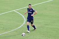 CARY, NC - AUGUST 01: Conor Donovan #20 plays the ball during a game between Birmingham Legion FC and North Carolina FC at Sahlen's Stadium at WakeMed Soccer Park on August 01, 2020 in Cary, North Carolina.