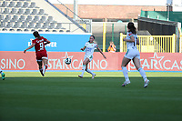 Laura Miller (9) of Standard and Jill Janssens (7) of OHL in action during a female soccer game between Oud Heverlee Leuven and Standard Femina de Liege on the third matchday of the 2021 - 2022 season of Belgian Womens Super League , Sunday 5 th of September 2021  in Leuven , Belgium . PHOTO SPORTPIX.BE | SEVIL OKTEM