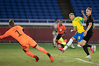 22nd July 2021; Stadium Yokohama, Yokohama, Japan; Tokyo 2020 Olympic Games, Brazil versus Germany; Richarlison of Brazil shoots and scores his goal in the 6th minute 1-0 past keeper Muller of Germany