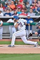 Tennessee Smokies second baseman David Bote (15) swings at a pitch during a game against the Mississippi Braves at Smokies Stadium on April 12, 2017 in Kodak, Tennessee. The Braves defeated the Smokies 6-2. (Tony Farlow/Four Seam Images)