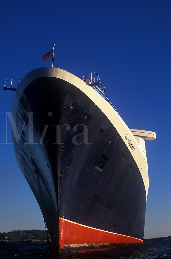Close high view of bow of QE2 in Portland Maine harbor