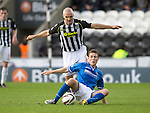 St Mirren v St Johnstone...19.10.13      SPFL<br /> Jim Goodwin brings down David Wotherspoon<br /> Picture by Graeme Hart.<br /> Copyright Perthshire Picture Agency<br /> Tel: 01738 623350  Mobile: 07990 594431