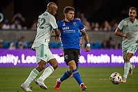 SAN JOSE, CA - SEPTEMBER 4: Eric Remedi #5 of the San Jose Earthquakes dribbles the ball during a game between Colorado Rapids and San Jose Earthquakes at PayPal Park on September 4, 2021 in San Jose, California.