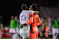 LAKE BUENA VISTA, FL - AUGUST 06: Rodrigo Schlegel #15 and Pedro Gallese #1 of Orlando City SC celebrate a victory during a game between Orlando City SC and Minnesota United FC at ESPN Wide World of Sports on August 06, 2020 in Lake Buena Vista, Florida.