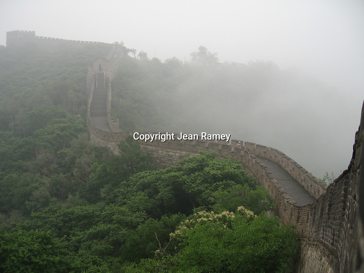 Fog blankets the Great Wall of China