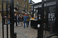 A busy scene in Camden Market as people queue to buy takeaway food and drinks as the COVID-19 lockdown restrictions start to ease across the UK on 2nd April 2021