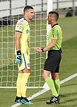 Getafe CF's David Soria have words with Spanish referee Carlos Del Cerro Grande during friendly match. August 10,2019. (ALTERPHOTOS/Acero)