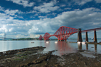 The Forth Rail Bridge and Forth Road Bridge from Queensferry, Lothian
