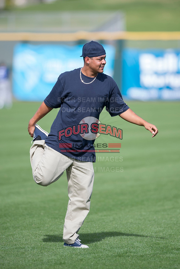 Scottsdale Scorpions pitcher Justus Sheffield (34), of the New York Yankees organization, stretches in his Halloween costume prior to an Arizona Fall League game against the Glendale Desert Dogs on October 31, 2017 at Scottsdale Stadium in Scottsdale, Arizona. The Scorpions defeated the Desert Dogs 6-2. (Zachary Lucy/Four Seam Images)