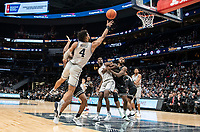 WASHINGTON, DC - FEBRUARY 19: Jagan Mosely #4 of Georgetown lobs up a shot during a game between Providence and Georgetown at Capital One Arena on February 19, 2020 in Washington, DC.