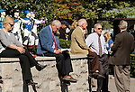 LEXINGTON, KY - OCTOBER 08: People waiting at Keeneland during a power outage at 10:20am, which caused a delay for the afternoon race card on Fall Stars Saturday.  People inside the track could only wait, and people outside were not permitted in until electric came back on right at 12:00pm.  October 8, 2016, Lexington, Kentucky. (Photo by Candice Chavez/Eclipse Sportswire/Getty Images)