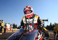 Aug. 3, 2014; Kent, WA, USA; NHRA top fuel dragster driver Doug Kalitta celebrates after winning the Northwest Nationals at Pacific Raceways. Mandatory Credit: Mark J. Rebilas-