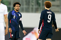 ST. GALLEN, SWITZERLAND - MAY 30: Weston McKennie #8 and Josh Sargent #9 of the United States chat with one another during a game between Switzerland and USMNT at Kybunpark on May 30, 2021 in St. Gallen, Switzerland.