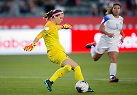 CARSON, CA - FEBRUARY 07: GK Stephanie Labbe #1 of Canada clears a ball during a game between Canada and Costa Rica at Dignity Health Sports Complex on February 07, 2020 in Carson, California.