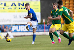 St Johnstone v Preston North End…13.07.21  McDiarmid Park<br />Jsason Kerr clears from Emil Riis<br />Picture by Graeme Hart.<br />Copyright Perthshire Picture Agency<br />Tel: 01738 623350  Mobile: 07990 594431