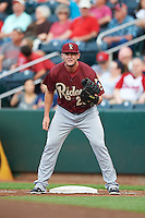 Frisco RoughRiders first baseman Trever Adams (29) holds a runner on during a game against the Springfield Cardinals on June 3, 2015 at Hammons Field in Springfield, Missouri.  Springfield defeated Frisco 7-2.  (Mike Janes/Four Seam Images)