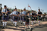 The Grand Parade of Clans at the Scotsfest Scottish Festival and clan gathering at the Queen Mary in Long Beach, CA
