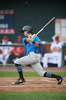 Akron RubberDucks shortstop Ernie Clement (2) hits a single during a game against the Harrisburg Senators on August 19, 2018 at FNB Field in Harrisburg, Pennsylvania.  Akron defeated Harrisburg 3-0 in a rain shortened game.  (Mike Janes/Four Seam Images)