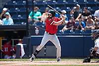 Blake Swihart (1) of the Rochester Red Wings at bat against the Scranton/Wilkes-Barre RailRiders at PNC Field on July 25, 2021 in Moosic, Pennsylvania. (Brian Westerholt/Four Seam Images)