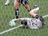 Sky Blue goalkeeper Jenn Branam makes a save during the WPS Championship match. The Sky Blue FC defeated the LA Sol 1-0 to win the WPS Final Championship match at Home Depot Center stadium in Carson, California on Saturday, August 22, 2009...
