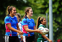 Action from the women's university sevens tournament match between Wellington and Massey (PN) on day two of the 2018 HSBC World Sevens Series Hamilton at FMG Stadium in Hamilton, New Zealand on Saturday, 3 February 2018. Photo: Dave Lintott / lintottphoto.co.nz