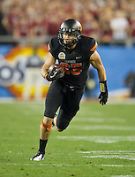 STANFORD, CA - January 2, 2012: Oklahoma State wide receiver Josh Cooper (25) at the Fiesta Bowl at University of Phoenix Stadium in Phoenix, AZ. Final score Oklahoma State wins 41-38.