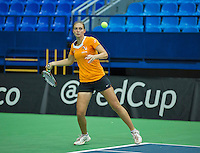 Moskou, Russia, Februari 4, 2016,  Fed Cup Russia-Netherlands,  Dutch team practise doubles Cindy Burger <br /> Photo: Tennisimages/Henk Koster