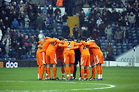 Pictured: Swansea players huddle before kick off. Saturday, 04 February 2012<br /> Re: Premier League football, West Bromwich Albion v Swansea City FC v at the Hawthorns Stadium, Birmingham, West Midlands.
