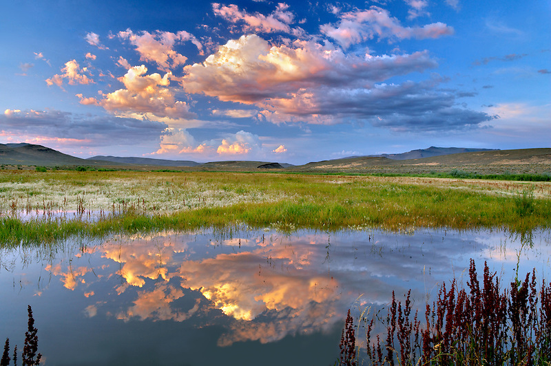 Sunset clouds over pond. Black Rock Desert National Conservation Area. Nevada