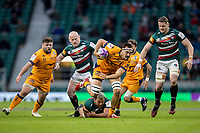21st May 2021; Twickenham, London, England; European Rugby Challenge Cup Final, Leicester Tigers versus Montpellier; Ellis Genge of Leicester Tigers misses a tackle on Florian Verhaeghe of Montpellier Rugby