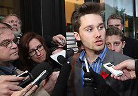 FECQ spokesperson Leo Bureau-Blouin answers questions from the medias as he comes back from a break during the negotiation with Quebec education Minister Michelle Courchesne in Quebec City Tuesday May 29, 2012. The students and the Quebec government meet for the second day in a row to try to solve a strike over tuition fee that goes for more than 100 days.<br /> <br /> PHOTO :  Francis Vachon - Agence Quebec Presse