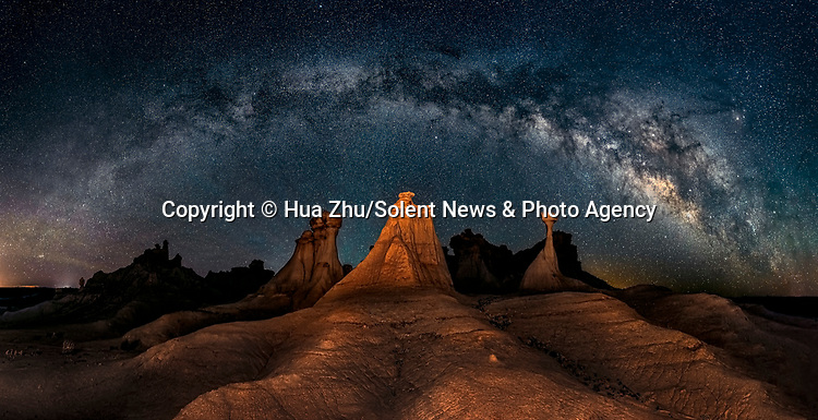 Pictured: The Milky Way at Valley of Dreams, New Mexico<br /> <br /> This beautiful series of photographs shows the Milky Way as seen from different continents around the world.   Photographer Hua Zhu travelled the globe over the course of four years to capture the starry night sky from already stunning locations. <br /> <br /> The medical professor visited picturesque landmarks in the USA, Kenya, New Zealand and China, including the Great Wall in Beijing.  Chinese Dr Zhu, who lives in New Jersey, USA, said he meticulously planned the trips by researching when the Milky Way would be on show.   SEE OUR COPY FOR DETAILS<br /> <br /> Please byline: Hua Zhu/Solent News<br /> <br /> © Hua Zhu/Solent News & Photo Agency<br /> UK +44 (0) 2380 458800