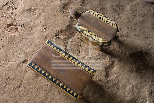 Xingu Indigenous Park, Mato Grosso State, Brazil. Aldeia Matipu (Matipu). Decorated stools, artesanato.