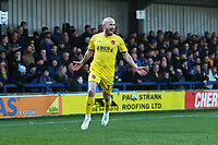Patrick Madden of Fleetwood Town scores the second goal for his team and celebrates during AFC Wimbledon vs Fleetwood Town, Sky Bet EFL League 1 Football at the Cherry Red Records Stadium on 8th February 2020