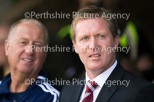 St Johnstone v Hearts...04.08.13 SPFL<br /> Gary Locke and Billy Brown<br /> Picture by Graeme Hart.<br /> Copyright Perthshire Picture Agency<br /> Tel: 01738 623350  Mobile: 07990 594431