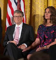 Washington DC, November 22, 2016, USA: President Barack Obama awards the Medal of Freedom to Bill and Melinda Gates at the White House. Credit: Patsy Lynch/MediaPunch