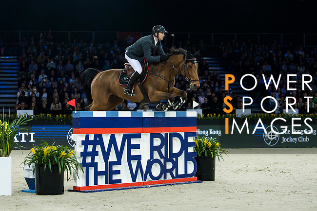 Patrice Delaveau of France riding Vestale de Mazure Hdc competes in the Longines Speed Challenge during the Longines Masters of Hong Kong at AsiaWorld-Expo on 10 February 2018, in Hong Kong, Hong Kong. Photo by Diego Gonzalez / Power Sport Images