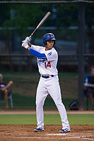 AZL Dodgers second baseman Marcus Chiu (14) at bat against the AZL Brewers on July 25, 2017 at Camelback Ranch in Glendale, Arizona. AZL Dodgers defeated the AZL Brewers 8-3. (Zachary Lucy/Four Seam Images)