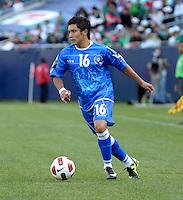 El Salvador's Jamie Alas cuts toward the goal.  El Salvador defeated Cuba 6-1 at the 2011 CONCACAF Gold Cup at Soldier Field in Chicago, IL on June 12, 2011.
