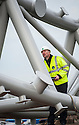 David Perry, Contracts Manager from shstructures inspects the first parts of the Kelpies arrive in Falkirk ready to be assembled..