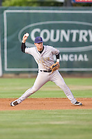 July 8, 2009: Tri-City Dust Devils third baseman Joseph Sanders prepares to fire the ball across the diamond during a Northwest League game against the Salem-Keizer Volcanoes at Volcanoes Stadium in Salem, Oregon.