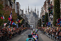 peloton rolling towards Leuven City Hall along the kilometer long Bondgenotenlaan <br /> According to police estimates 300.000 people came down to Leuven to witness the race<br /> <br /> Elite Men World Championships - Road Race<br /> from Antwerp to Leuven (268.3km)<br /> <br /> UCI Road World Championships - Flanders Belgium 2021<br /> <br /> ©kramon