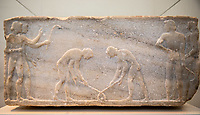 Delos, archeological museum Votive relief  (from Athens) Scene from a game: two men playing something similar to hockey. Bassorilievo votivo, scena sportiva, due giocatori praticano uno sport simile all'hockey