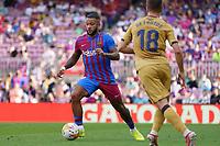 26th September 2021; Nou Camp, Barcelona, Spain: La Liga football, FC Barcelona versus Levante:  Memphis Depay goes past De Frutos