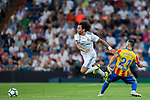 Marcelo Vieira Da Silva (l) of Real Madrid battles for the ball with Martin Montoya Torralbo of Valencia CF during their La Liga 2017-18 match between Real Madrid and Valencia CF at the Estadio Santiago Bernabeu on 27 August 2017 in Madrid, Spain. Photo by Diego Gonzalez / Power Sport Images