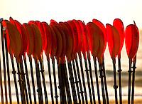 Canoe paddles in beach rack, Wailea Beach Resort, Maui
