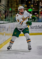 9 February 2019: University of Vermont Catamount Defenseman Owen Grant, a Sophomore from Ottawa, Ontario, in first period action against the University of New Hampshire Wildcats at Gutterson Fieldhouse in Burlington, Vermont. The Catamounts defeated the Wildcats 4-1 to split their 2-game Hockey East weekend series. Mandatory Credit: Ed Wolfstein Photo *** RAW (NEF) Image File Available ***